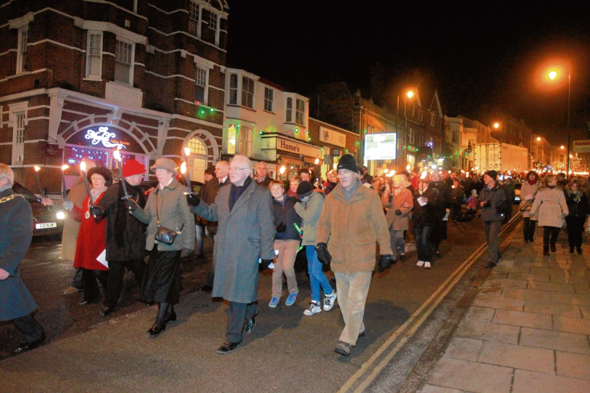 A torchlight parade is one of the events that keep Halstead vibrant.