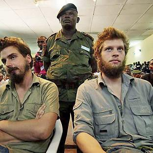 Tjostolv Moland, left, and Joshua French were sentenced to death in 2009 after being found guilty of espionage and murder in the Democratic Republic of Congo