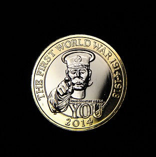 The Royal Mint's commemorative �2 coin shows an image of Lord Kitchener and the words 'Your country needs you'