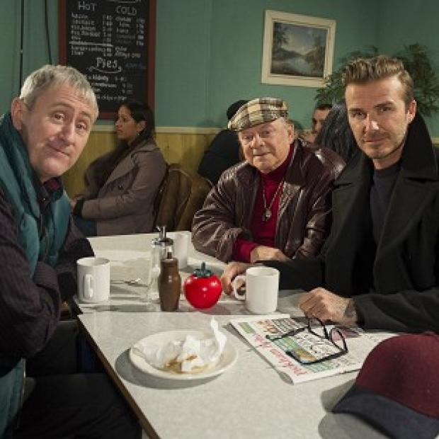Halstead Gazette: David Beckham joins Sir David Jason and Nicholas Lyndhurst for a special Only Fools and Horses sketch reuniting Del Boy and Rodney for the first time in a decade (Comic Relief/PA)