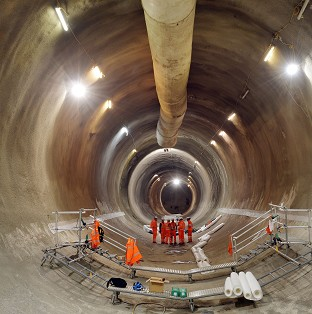 One of the Crossrail tunnels under construction below the streets of Whitechapel, east London