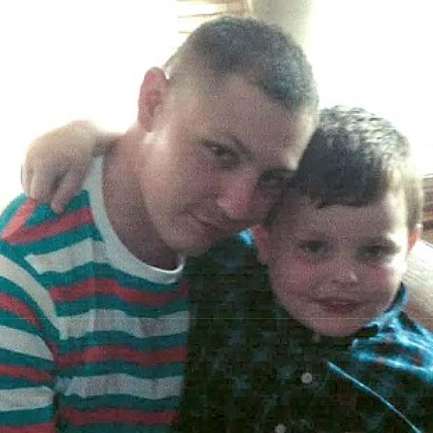 Halstead Gazette: Dean Mayley, 24, hugging his seven-year-old nephew Callum