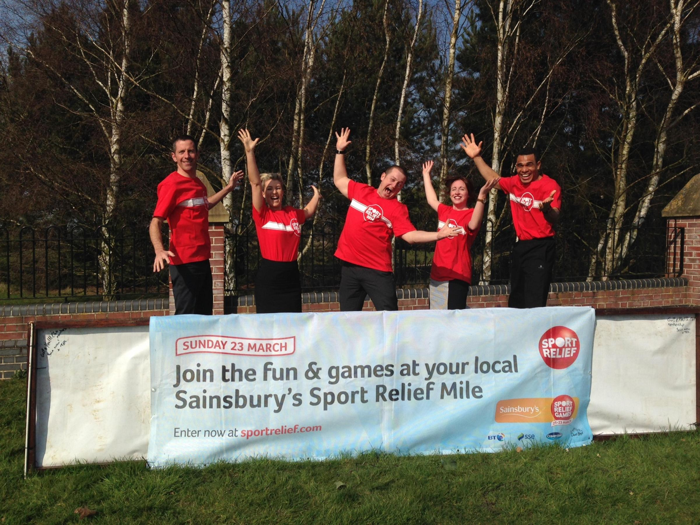 Sport Relief staff at the Essex Golf Club (left-right) James Gathercole, Zoe Cain, Chris Richards, Becky Fanning and Stalin Bruno