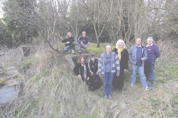 Campaigners at Halstead's air raid shelters