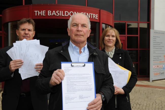 KFC opposition – councillor John Scarola, Bob Taylor and Samantha Marsh with their petition against KFC