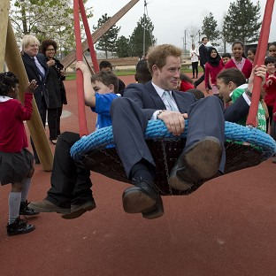 Harry in the swing at Olympic Park