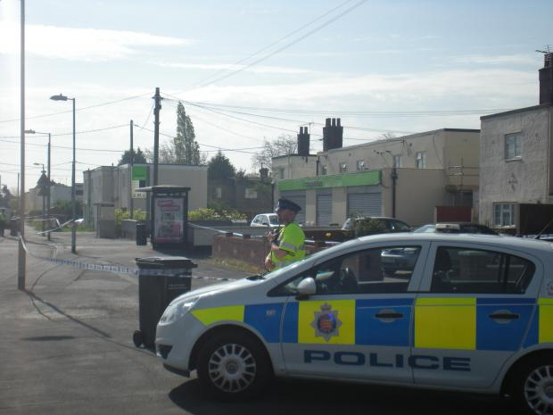 Halstead Gazette: The police cordon at the scene of the murder