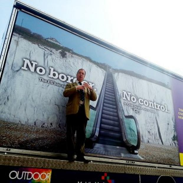 Halstead Gazette: Ukip leader Nigel Farage launches Ukip's billboard campaign for the Euro-elections in Dover, Kent