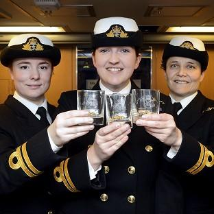 Halstead Gazette: Lieutenants Maxine Stiles, Alexandra Olsson and Penny Thackray who have made history by becoming the first female submariners to serve in the Royal Navy.