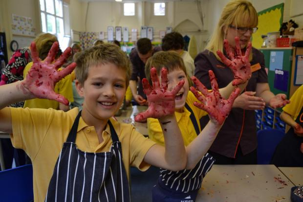 Pupils cook with Jamie Oliver