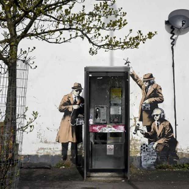 Halstead Gazette: Banksy has confirmed he painted a mural depicting agents in Cheltenham.
