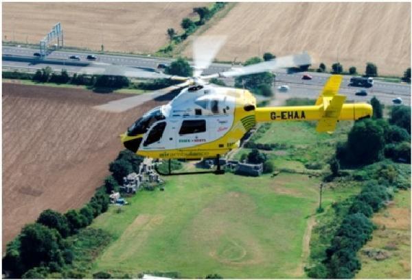 Air Ambulance called to Tour de France route in Finchingfield