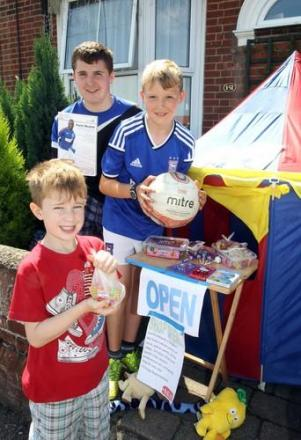 Enterprising children set up their own shop