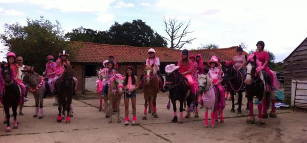 In the pink - the riders and their mounts