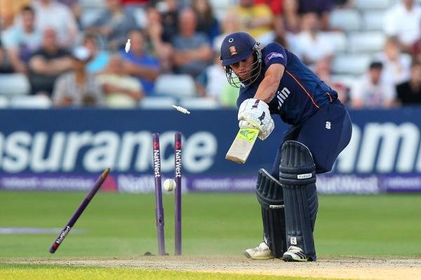 Mark Pettini of Essex is bowled out by Boyd Rankin in the T20 Blast quarter-final. PIC: GAVIN ELLIS/TGS PHOTOS