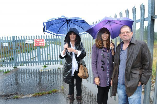 Skipp's Patsy Link, Mark Sharp and Sheena Walker outside the Ekco site