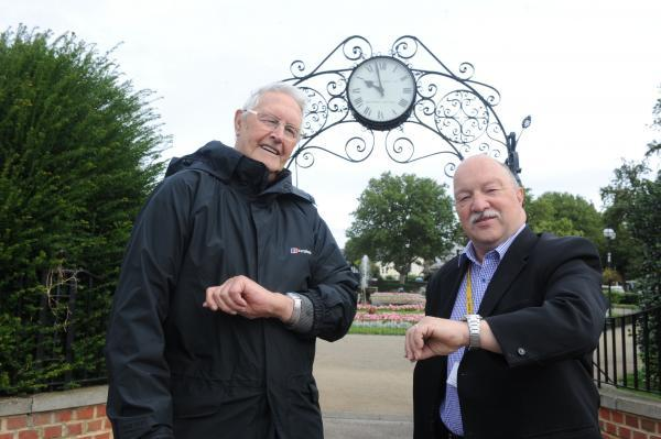Bill Banton and Councillor Graham Longley at the Prittlewell Square clock