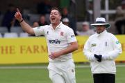 Jesse Ryder celebrates taking the wicket of Fabian   Cowdrey, one of five Kent scalps he claimed  Picture: TGSPHOTO