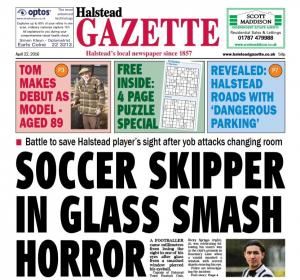 Halstead Gazette: In this week's Halstead Gazette: Soccer skipper in glass smash horrorl tome makes debut as model aged 89; and much more