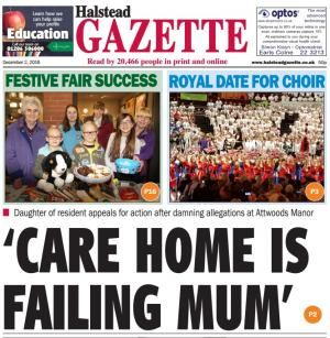 "Halstead Gazette: ""Care home is failing mum"""