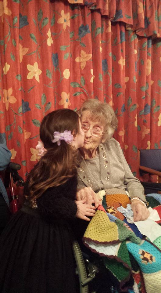 KISSES: Florence Ivy Cook, 110, sits with her great-granddaughter Bobbie, four
