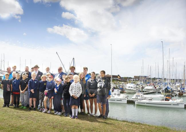 Setting sail: Hayden Jennings with classmates and other winners before the yacht trip