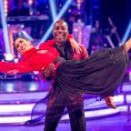 Halstead Gazette: EMABRGOED TO 2001 SUNDAY OCTOBER 2 For use in UK, Ireland or Benelux countries only Melvin Odoom and Janette Manrara leaving the competition, during the results show for BBC One's Strictly Come Dancing.