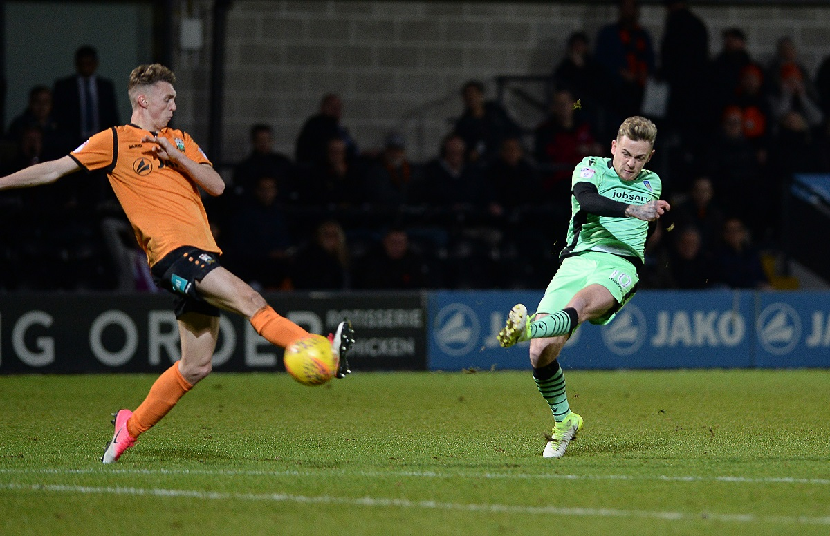 Hot shot - Sammie Szmodics curls home his wonderful winner for Colchester United at Barnet Picture; WARREN PAGE