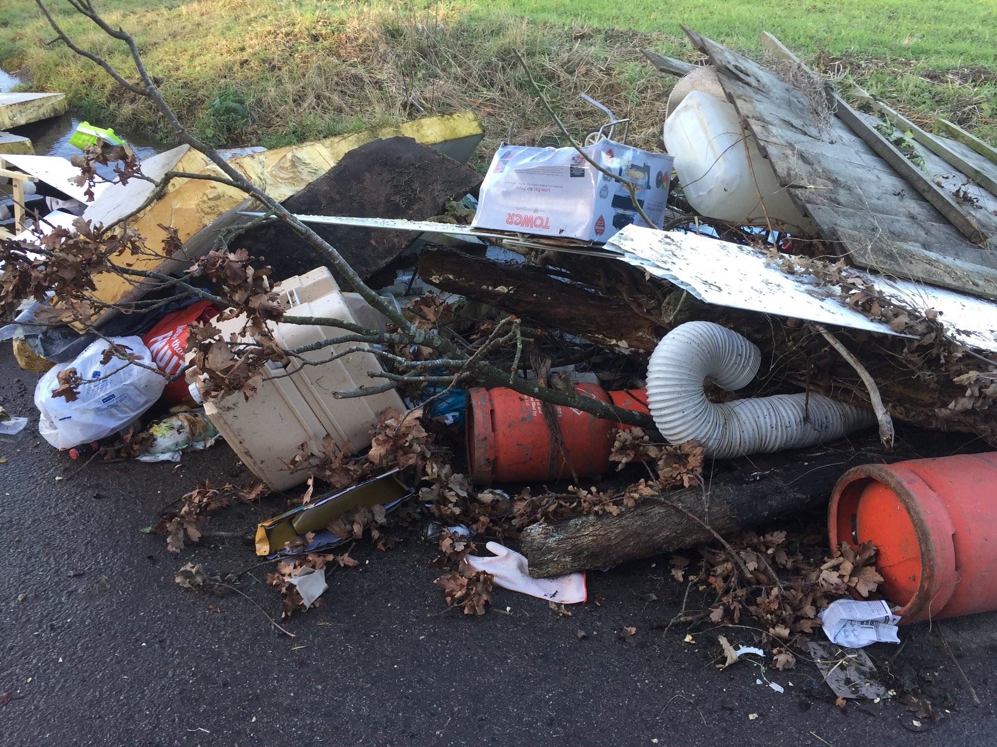 This rubbish was dumped in a field in Bartons Green