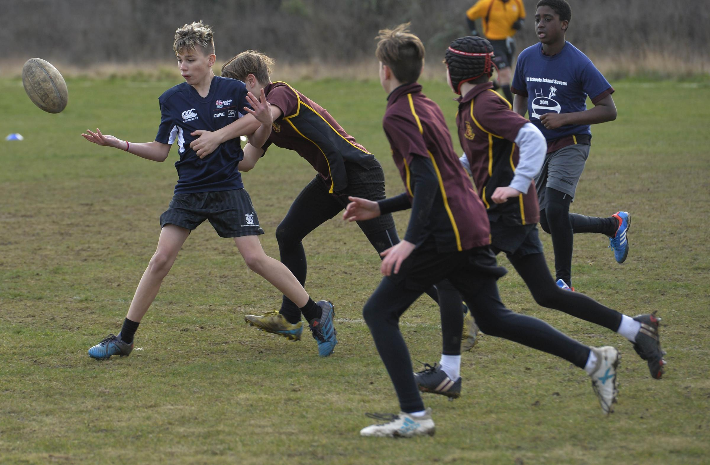 Action from the inaugural All Schools Island Sevens Festival, at The Glebe Picture: Steve Brading