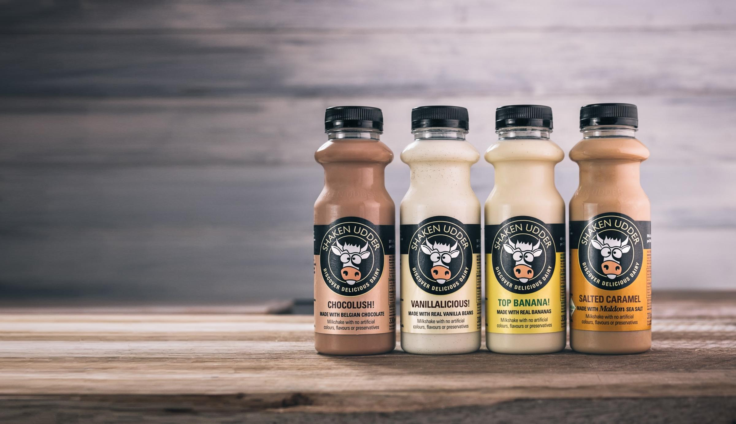 Four Shaken Udder milkshakes will now be stocked nationwide in Sainsbury's