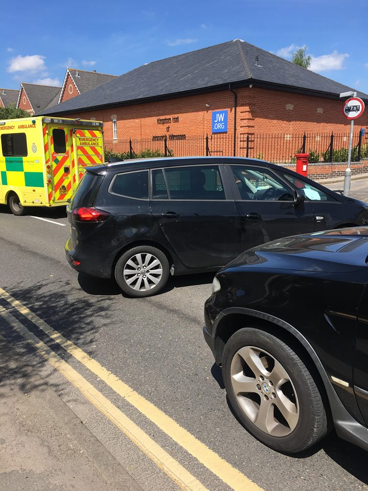 Emergency services dealing with crash