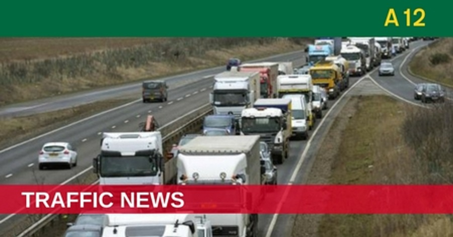 A12 delays after two-vehicle crash