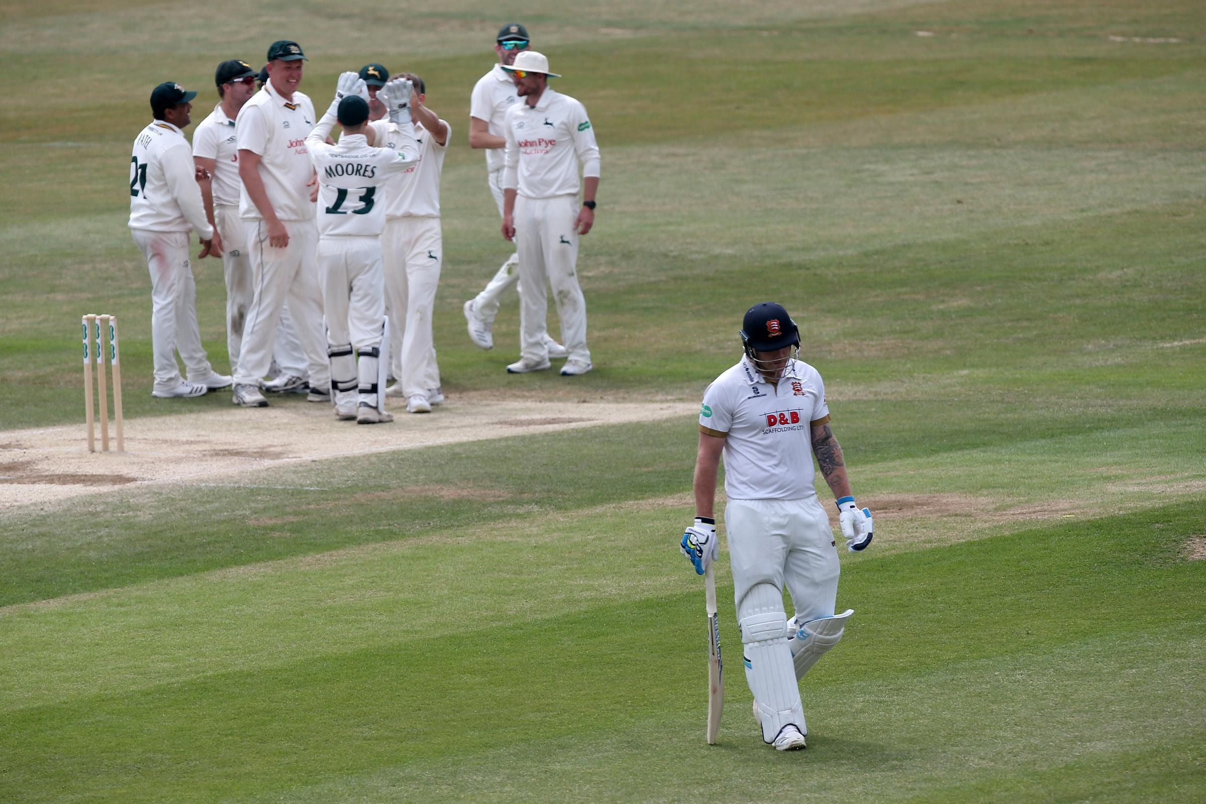 Out - Matt Coles plods off for Essex Picture: TGSPHOTO