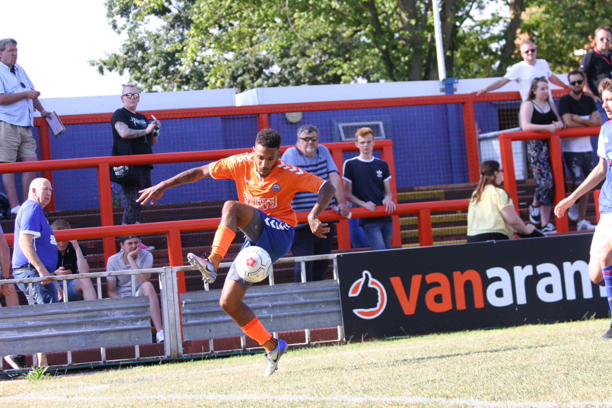 Reece Grant scored Braintree's third goal at AFC Sudbury in their 4-2 pre-season friendly win. Picture: Jon Weaver