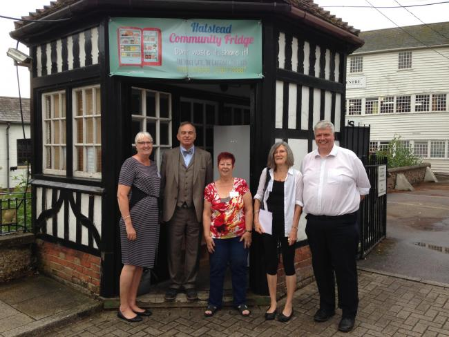 Halstead Community Fridge trustees with mill owner John de Bruyne
