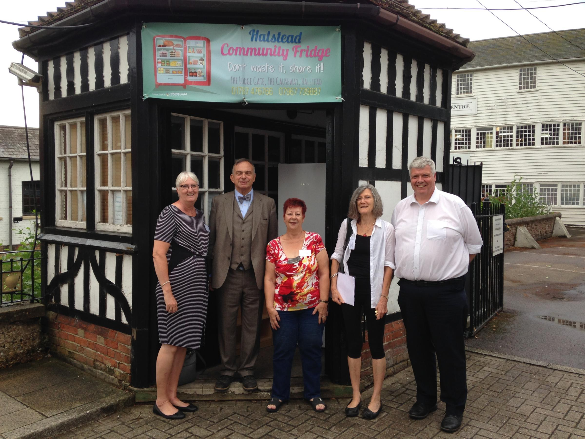 TRUSTEES: The Halstead Community Fridge team with John de Bruyne (second from left)