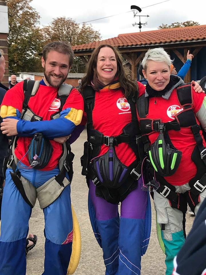 SKYDIVING: Tom Mackim with Alice and Sarah Carpenter