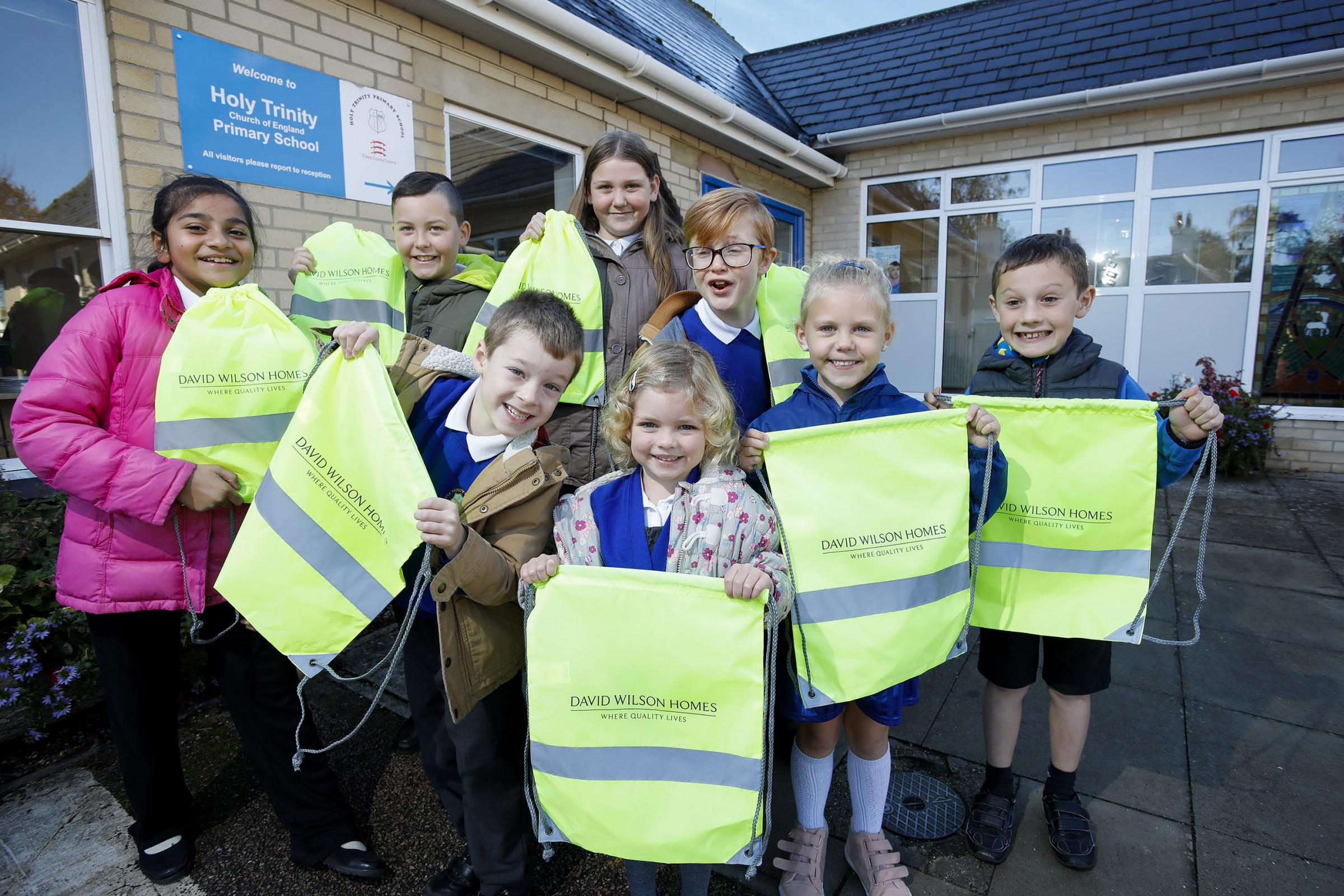 Holy Trinity, Halstead, pupils with hi-vis bags