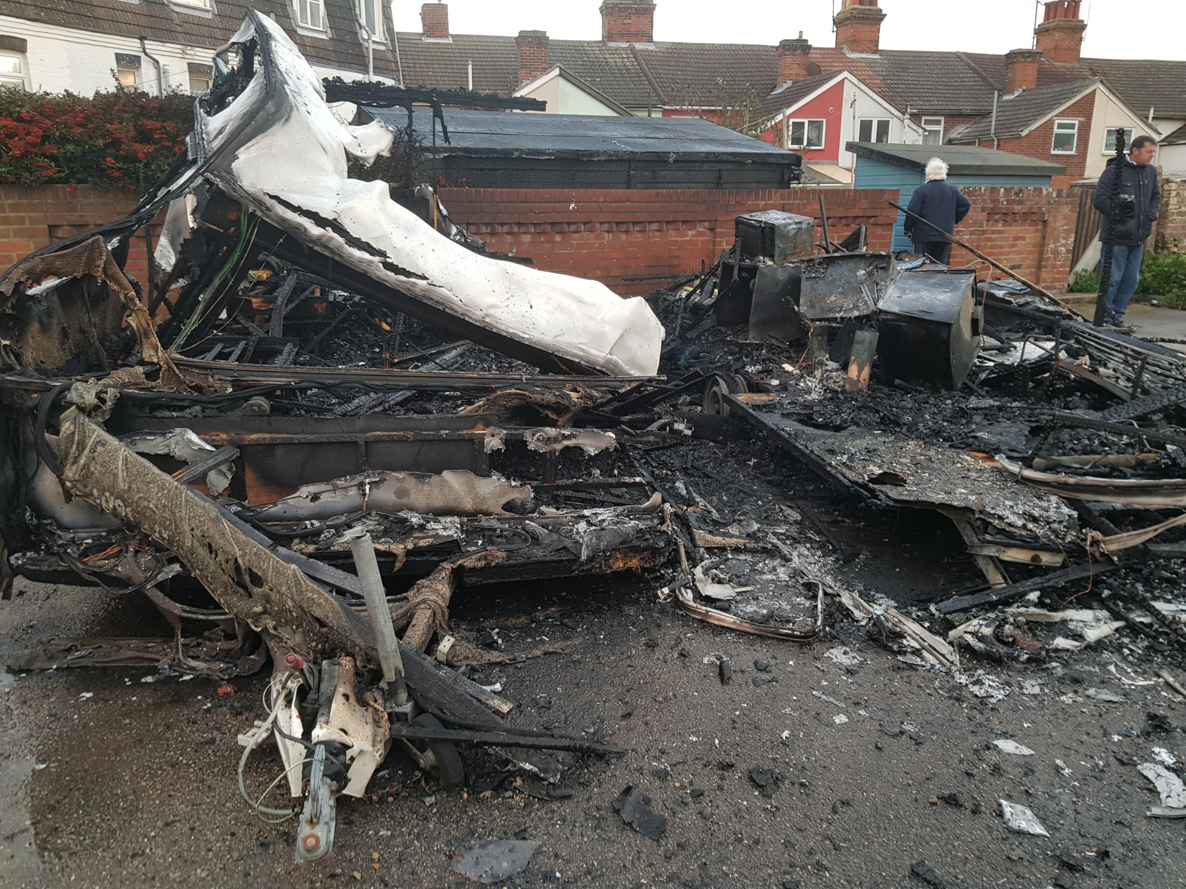 'Fire that destroyed two storage caravans was deliberate'
