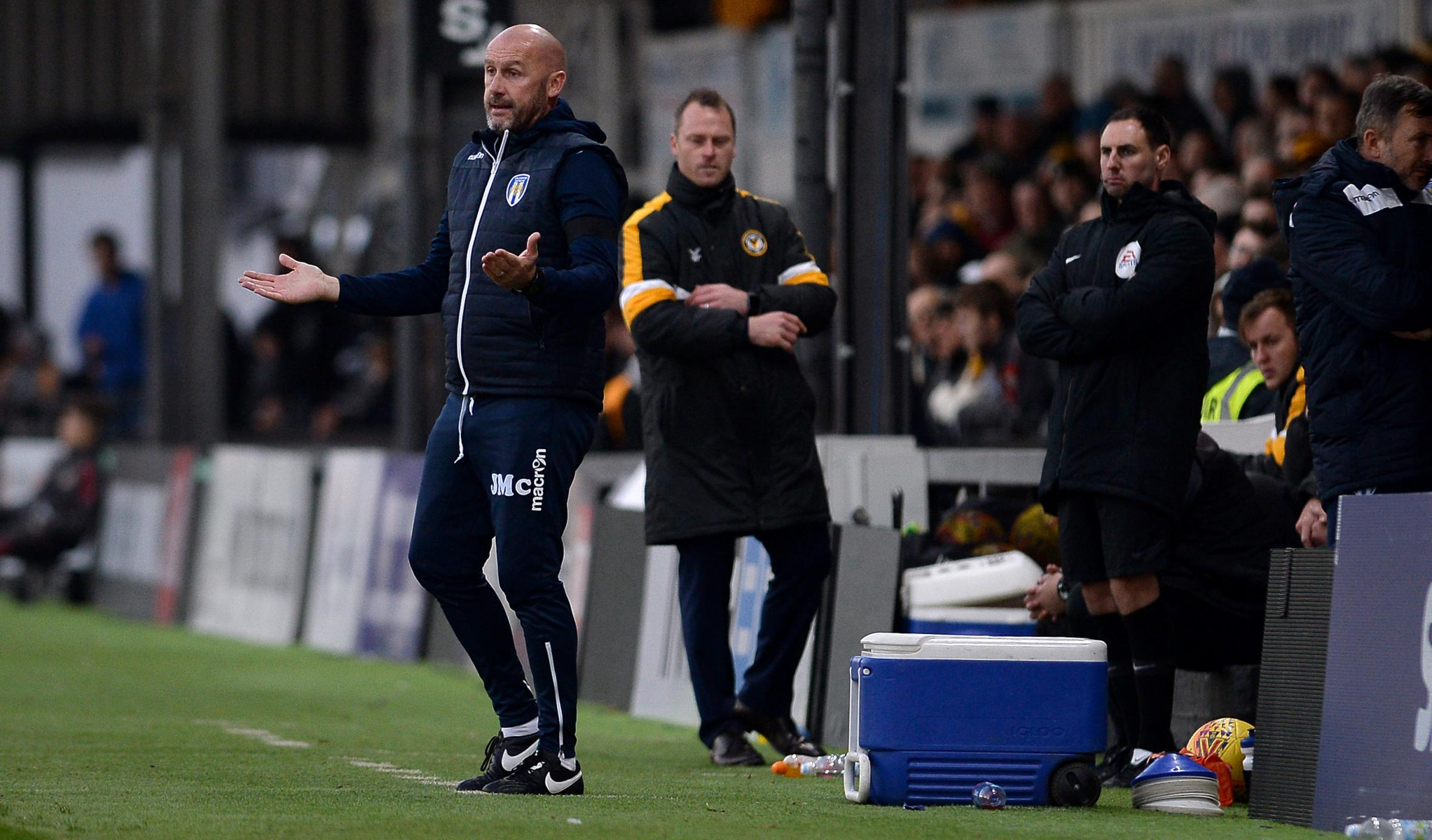 Watching brief - Colchester United head coach John McGreal at Newport County Picture: PAGEPIX