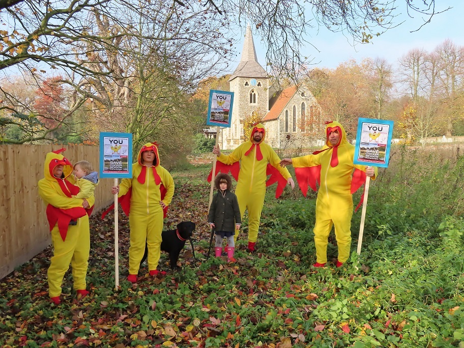 CLUCKING MAD: Residents are campaigning against a development of 11 homes at Stisted's Chicken Meadow