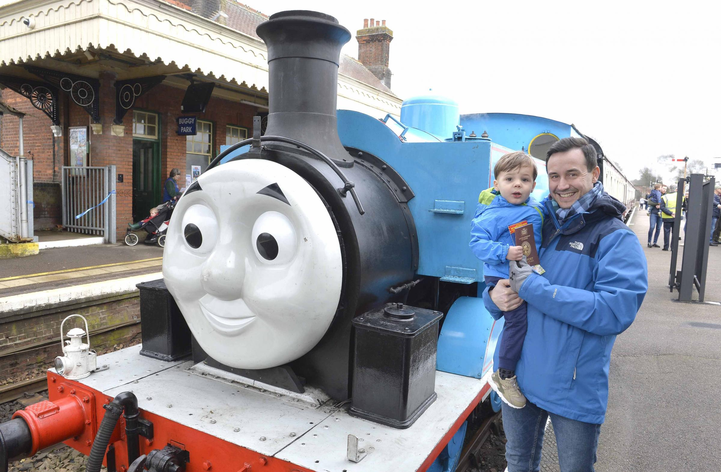 Thomas the Tank Engine day at Wakes Colnetrain museum..Ian Lewis with son Harrison, 2, and Thomas.