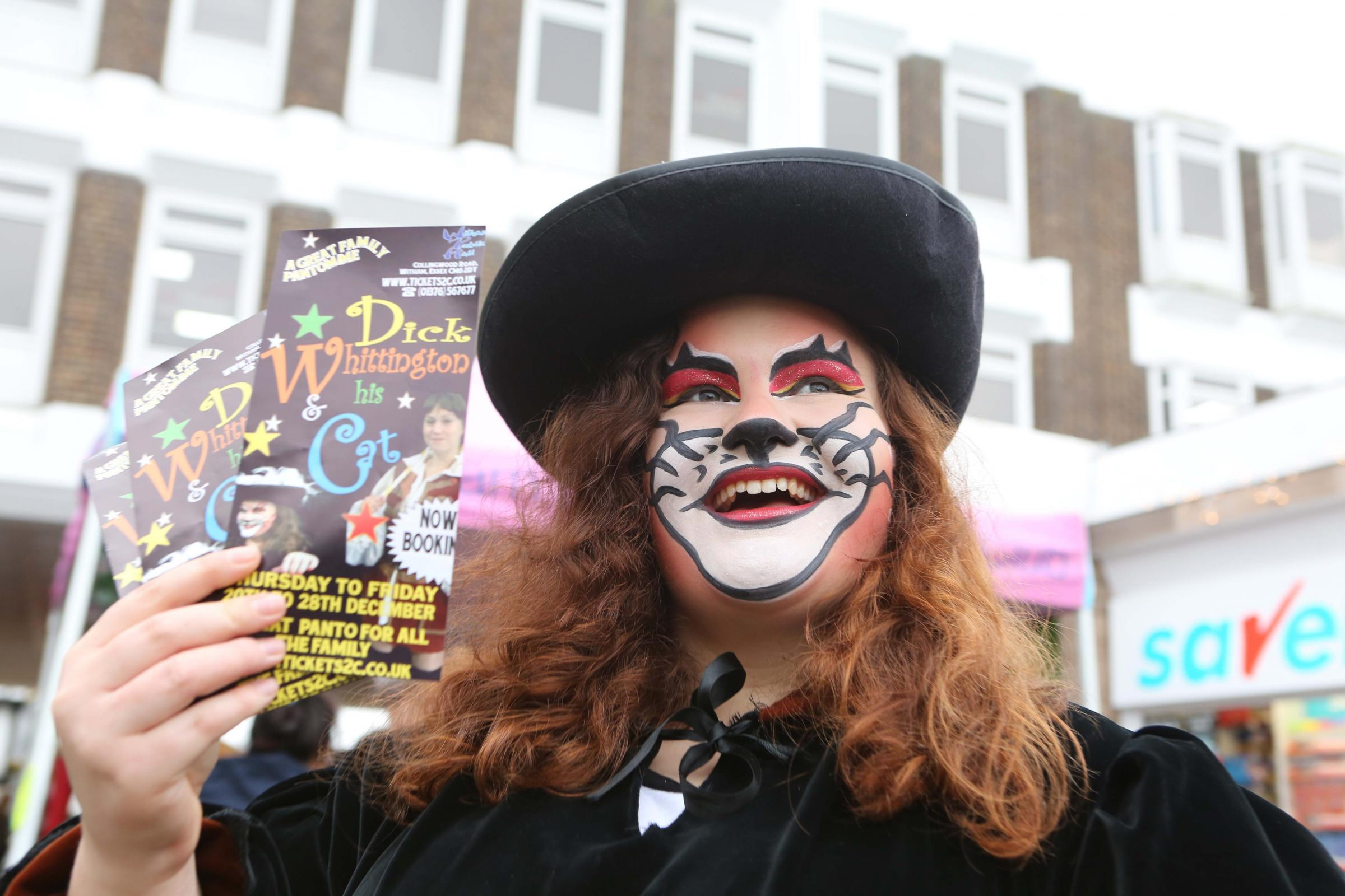 Annual Dickensian Christmas Market in Witham Town Centre, before lights switch on. Lily Downs as Cat from Dick Whittington