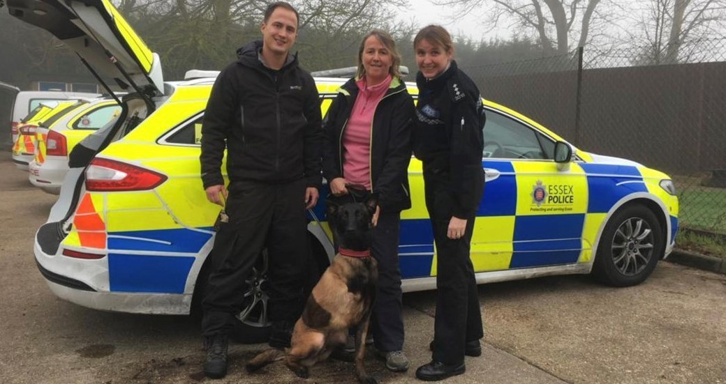 NEW HOME: Baloo with PC Ross Ashcroft, Mandy Chapman and CI Ronnie Egan Photo: @Chappers2013