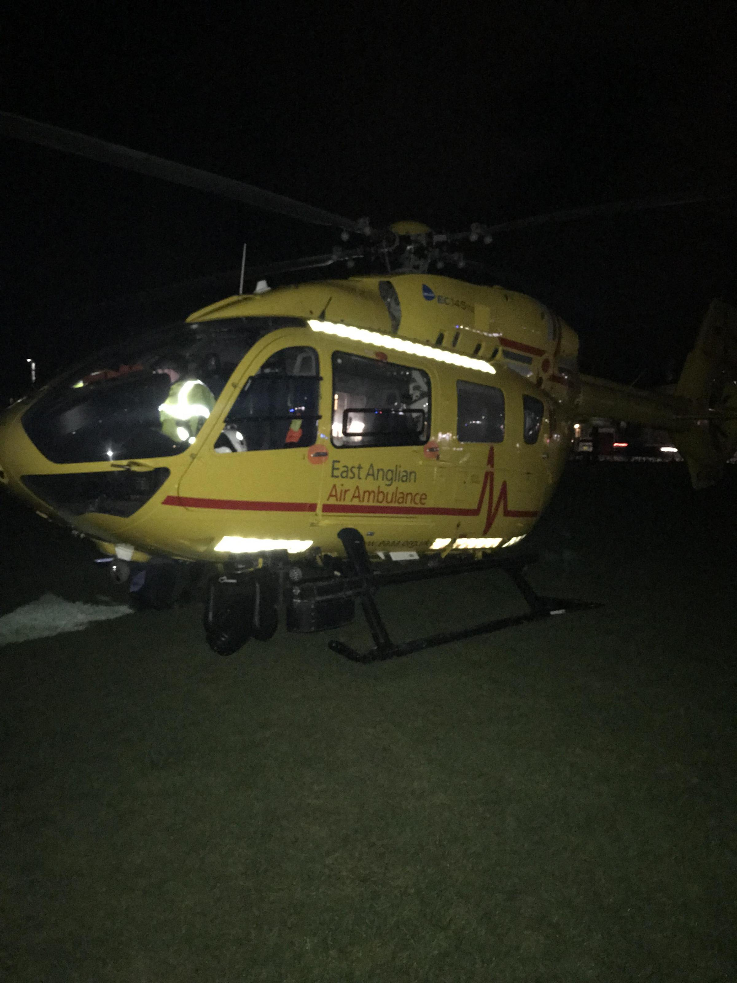 Air ambulance landed in Victory sports ground (credit: Frank Holland)