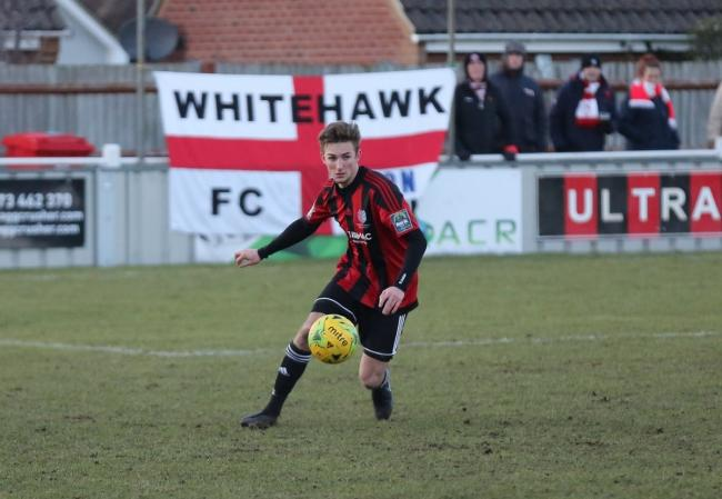 Jordan Barnett, pictured in action during a match last season, was on target for Brightlingsea against Bowers and Pitsea Picture: Neil Payne