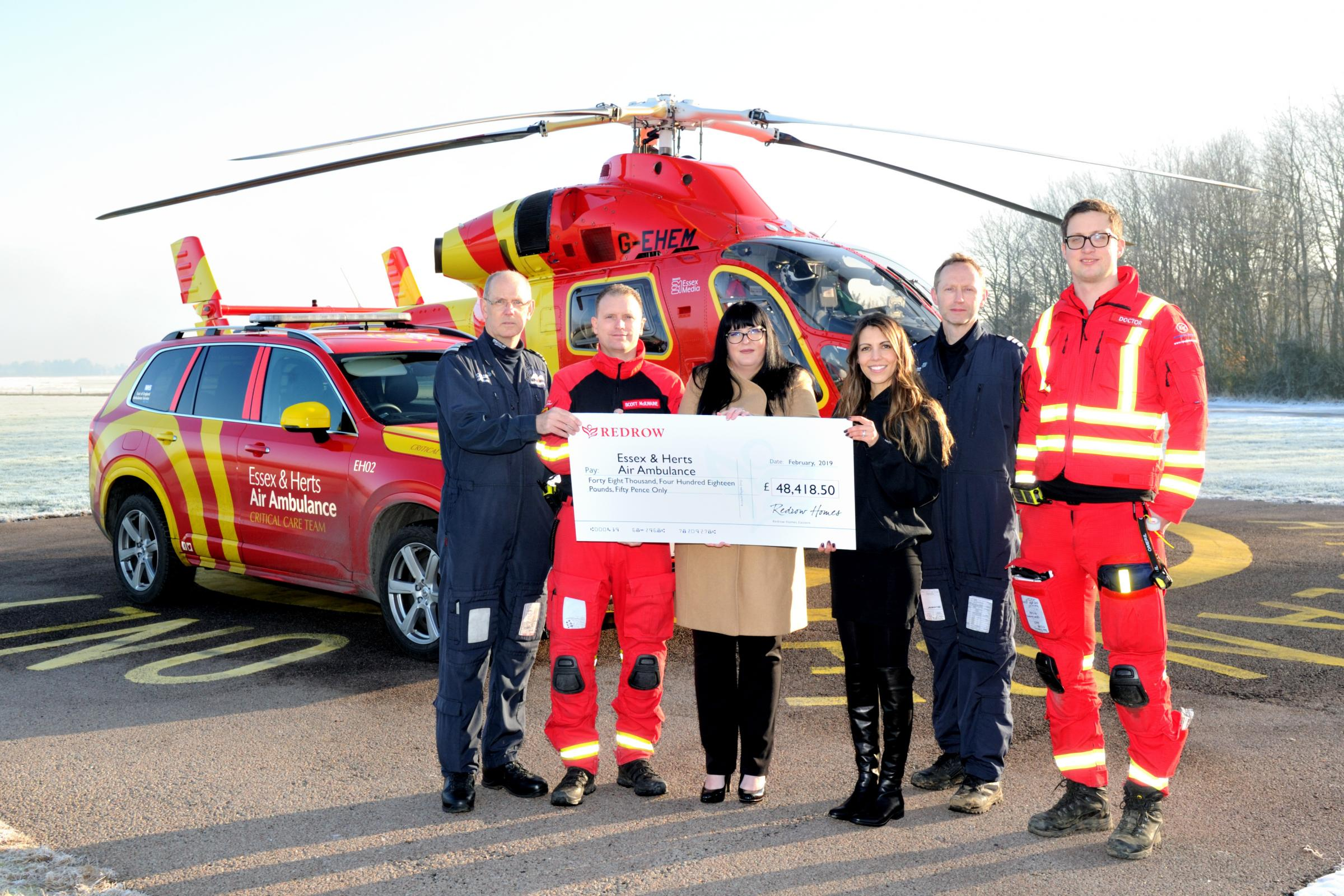 Donation - Redrow Eastern raised £48,418 for the Essex and Herts Air Ambulance