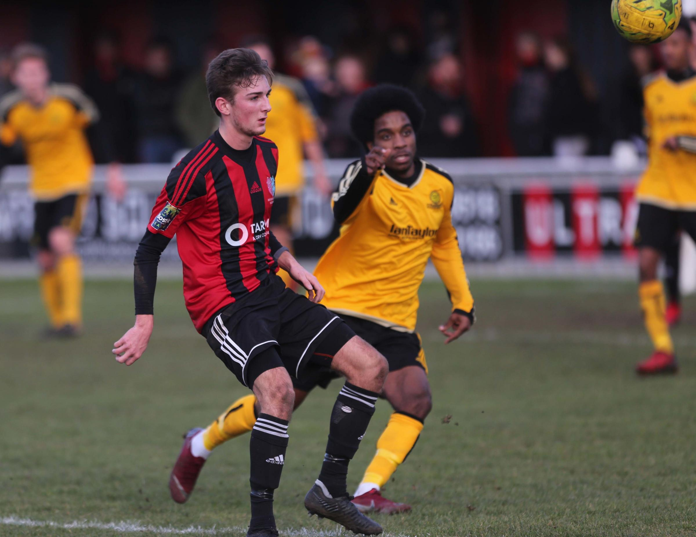 Action from this afternoon's Brightlingsea match against Merstham Picture: Seana Hughes