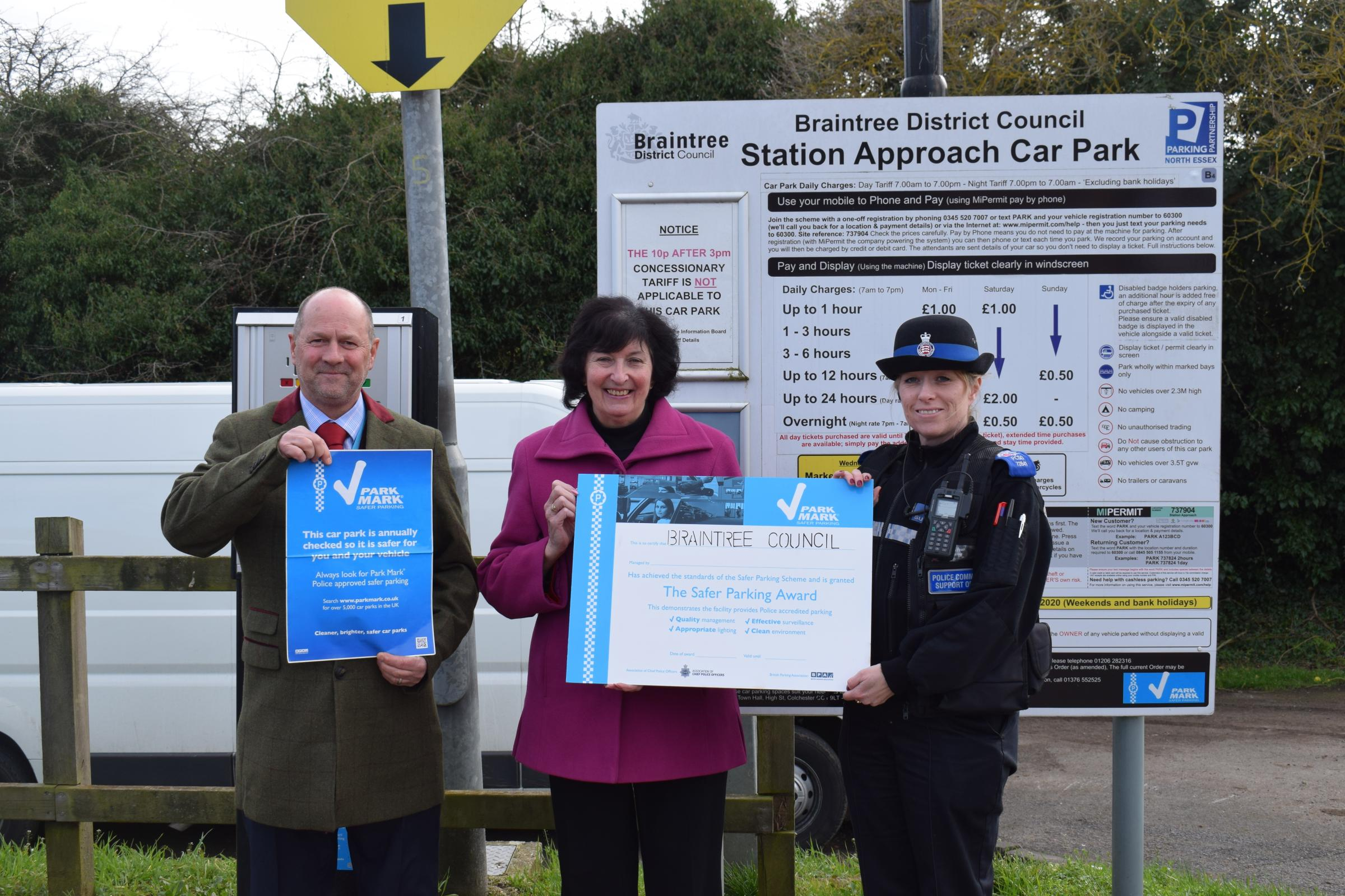(left) Graham Chapman, Area Manager for British Parking Association, Councillor Wendy Schmitt, Cabinet Member for Environment and Place at Braintree District Council and Lorraine Keating, PSCO at Essex Police (right) at Station Approach car park in Braint